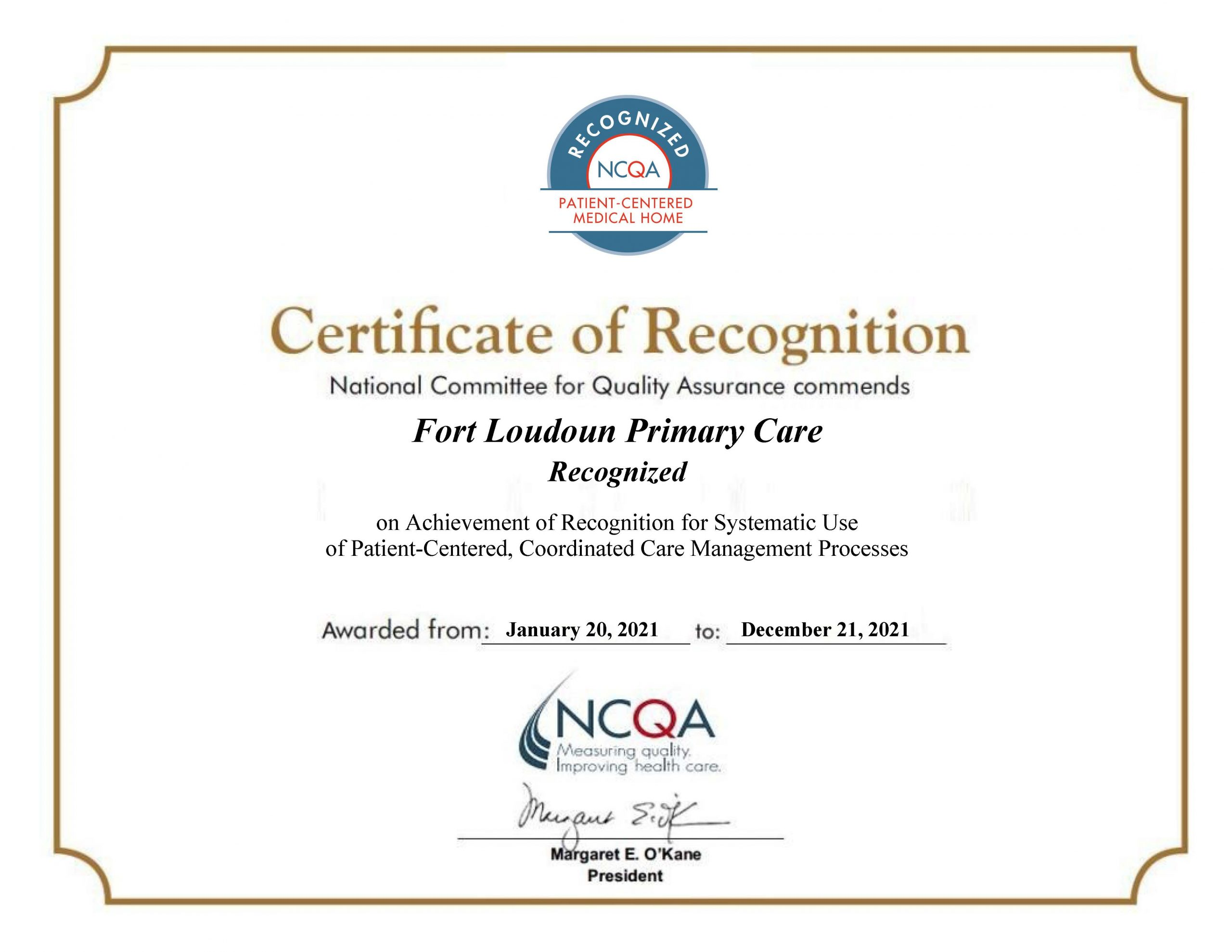 Fort Loudoun Primary Care Recognized as PCMH